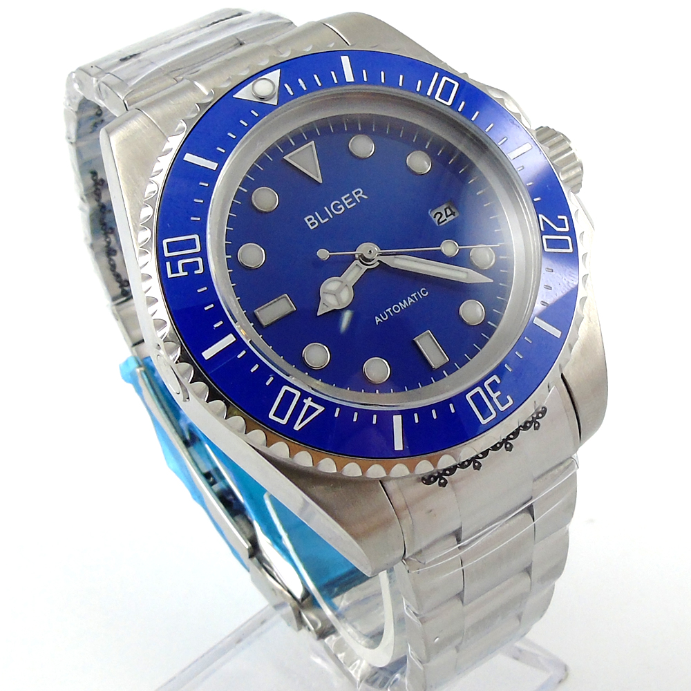 Bliger 44mm blue Sterile dial blue Ceramic Bezel automatic mens watch tommy hilfiger tommy hilfiger to263emjcy23