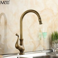 Antique Brass Kitchen Faucet Brass Swivel Spout Kitchen Faucet Single Handle Vessel Sink Mixer Tap MLK1301