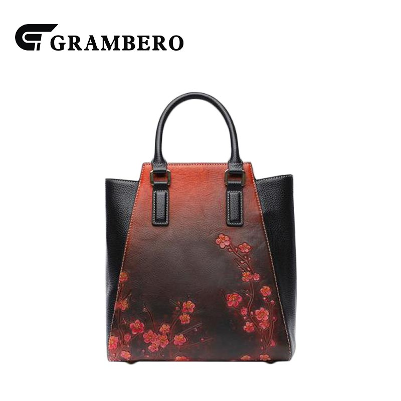 Vintage Style Women Handbag Genuine Leather Top Leather Flower Pattern Zipper Noble Top-handle Shoulder Bag for Birthday Gifts fashion relief rose flower pattern handbag pu leather genuine leather zipper ring top handle bag lady party shoulder bags gifts