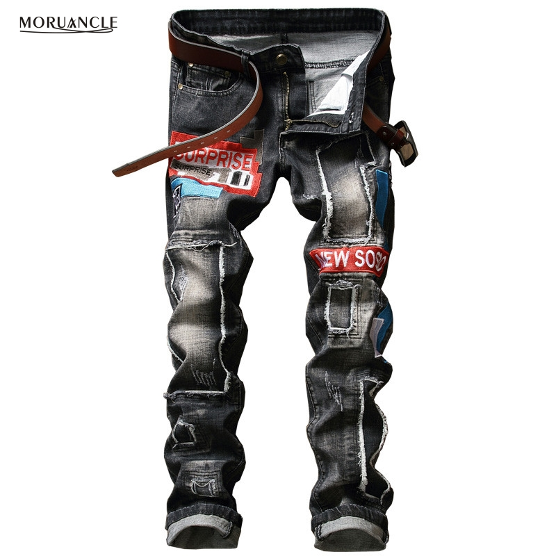 ФОТО  Designer Men Patch Jeans Pants With Embroidery Slim Fit Ripped Denim Joggers Patchwork Distressed Trousers Washed Straight