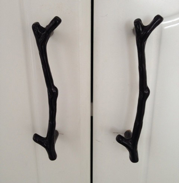 2pcs 96mm retro black twig cupboard door handle, kitchen cabinets
