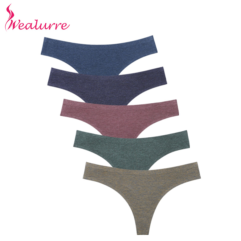Wealurre Colored Cotton Sexy Thongs Women's Seamless Underpants   Panties   Briefs for Women Breathable Underwear Female Lingerie