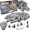 1381 unids Bloques de Construcción Star Wars Serie La Fuerza Despierta Millennium Falcon Modelo Comp W/LEGOS Juguetes Educativos