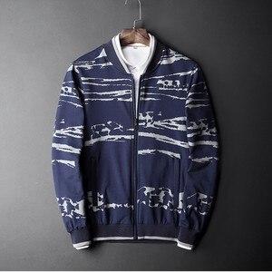 Весенне-осенняя брендовая мужская одежда, хлопковый свободный свитер, кардиган с воротником-стойкой в китайском стиле, свитер с принтом, L-5XL...