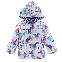Meninas da criança Do Bebê Flores Chuva de Vento Jaqueta Com Capuz Manga Comprida Windbreak Crianças Floral Topos Casaco Outwear À Prova D' Água