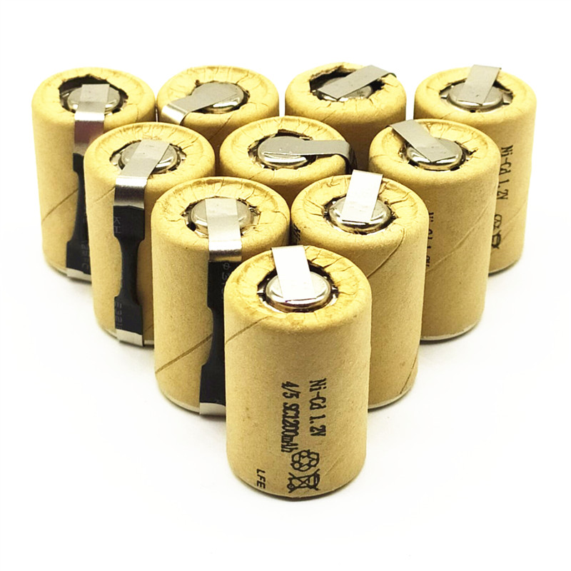 8/10/12/15PCS 4/5SC 1.2V rechargeable battery 1200mAh 4/5 SC Sub C Ni-CD cell with welding tabs for electric drill screwdriver image