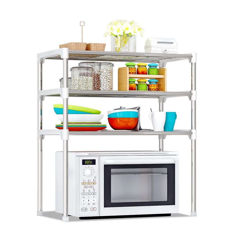 Image 3 - Multi functional Kitchen Storage Shelf Table Rack Microwave Oven Shelving Stainless Steel Adjustable  Kitchen Storage Holders-in Racks & Holders from Home & Garden