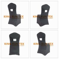 Black Color Lycra Spandex Stretch Chair Cover With Diamond Buckle Band Wedding Christmas Decoration