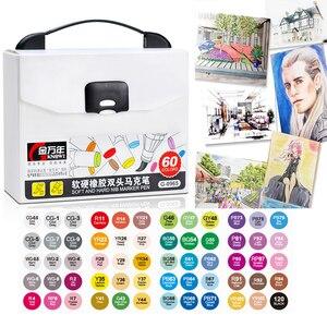 Image 5 - Ensemble de marqueurs pour dessin à double tête, 12/24/48/60 couleurs, marqueurs dartiste avec brosse à base dalcool, stylos dart pour le dessin à lécole