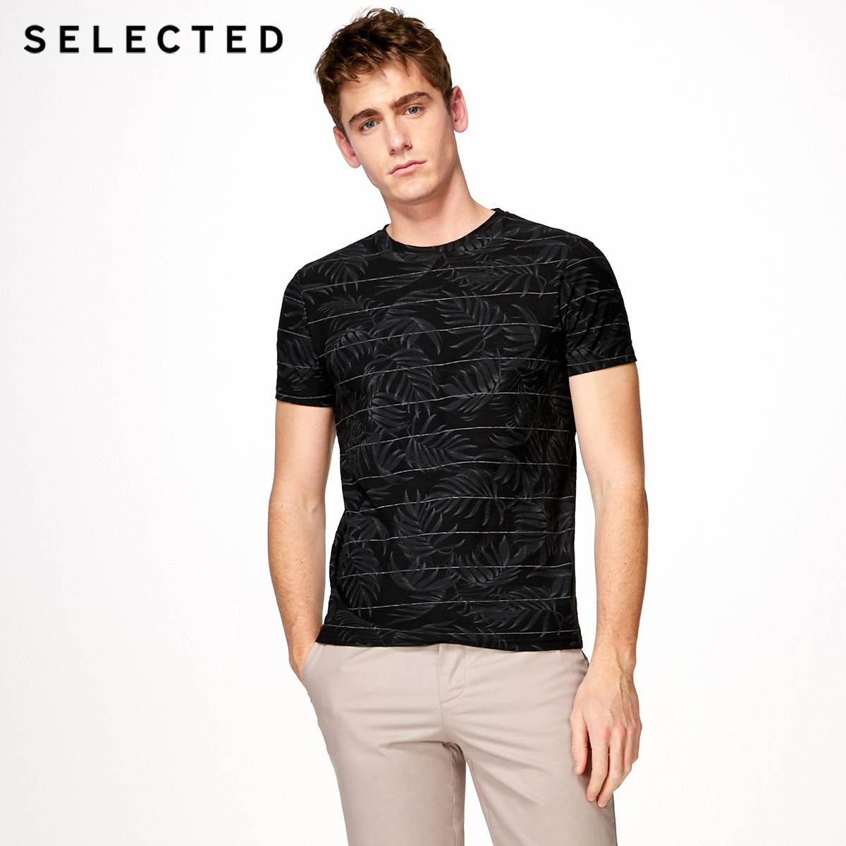 SELECTED cotton skin texture   T     shirt   S|4182T4592