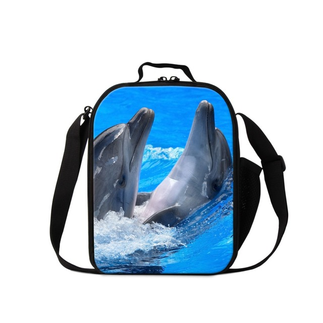 2017 Dolphin printing lunch bags for children school cute work lunch container for women adults small messenger lunch cooler bag