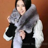 Free shipping Entire fox collar scarf Really the fox fur female The whole piece of fur fox fur scarf shawl