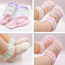 Socks Calcetines Anti-Slip Baby-Girl Lace Mesh Newborn-Baby Cotton Summer Cute Flower