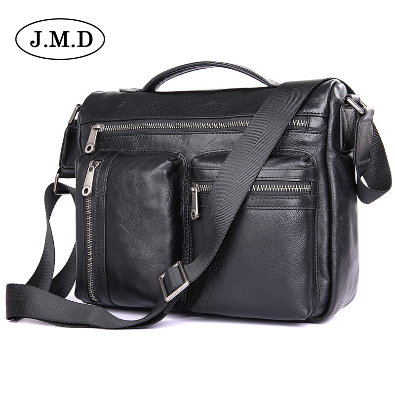 J.M.D Genuine Leather bag Business Men bags IPAD Tote Briefcases Crossbody bags Shoulder Handbag Men's Messenger Bag  1019A 2017 genuine leather bag leather men shoulder crossbody bags briefcases business bag men s travel bags tote men messenger bag