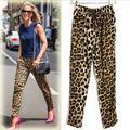 2016 весной женщины леопарда шаровары тонкий вид широкий брюки основные свободного покроя досуг Roupa женский Большой размер S-XXL KZ002