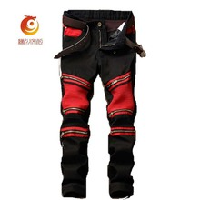 Mens denim istressed jeans joggers red patchwork hole straight male jeans skinny black leather pants brand famous plus size