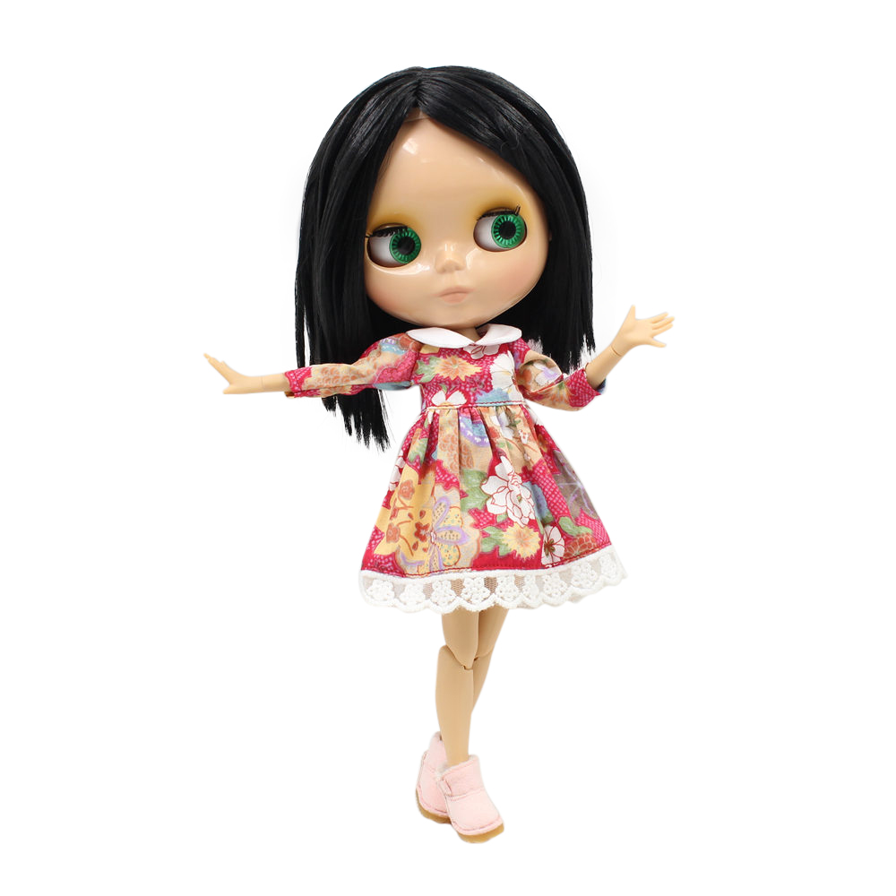 ICY Nude Blyth Doll Serires No BL 9601 Black short hair JOINT body burning skin with