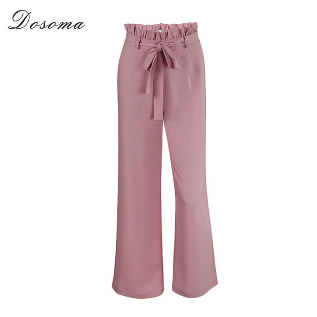 9dc4974c4d33d DOSOMA OL chiffon high waist wide leg pants Women lace up autumn winter  loose solid color straight casual pants female trousers