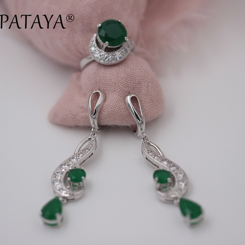 PATAYA New Arrivals Green Round Water Drop Natural Zircon Long Earrings Ring Sets Women True White Gold Classic Jewelry 10 Color