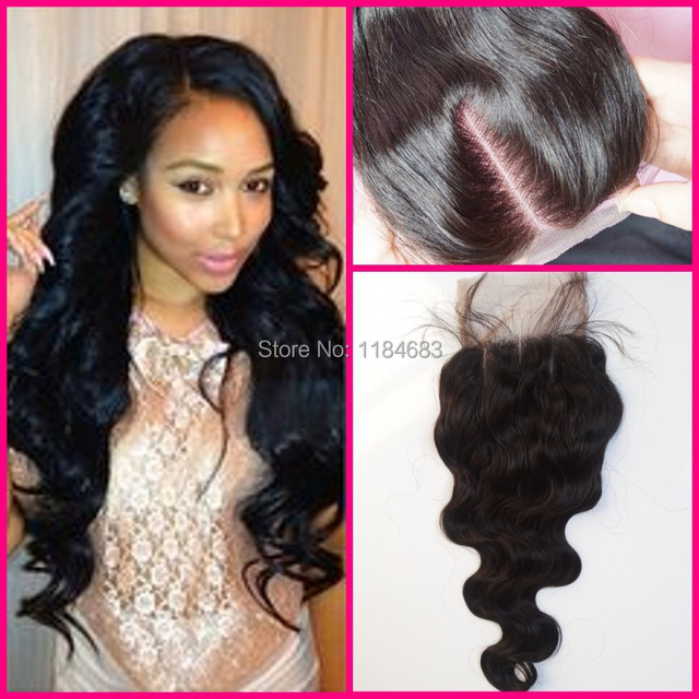 6a body wave malaysians lace closure 100 humen hair middle 3 part