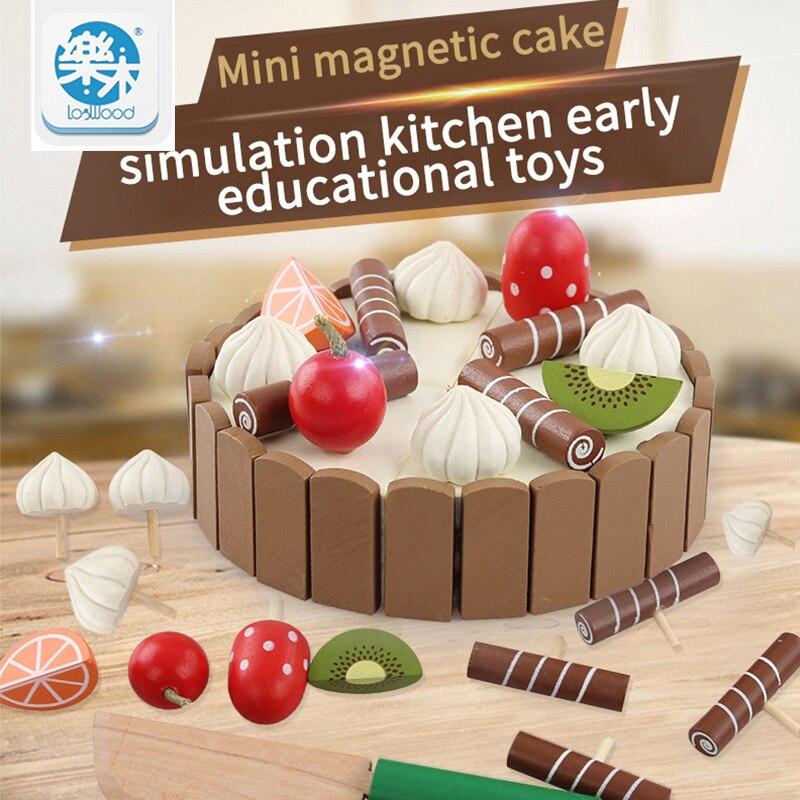 En bois Simulation Gâteau et Voir Tous Les Jouets Taille 11 cm * 3 cm Pour Le Cadeau D'anniversaire de Enfant Montessori Intérêts Intellectuelle Jouet