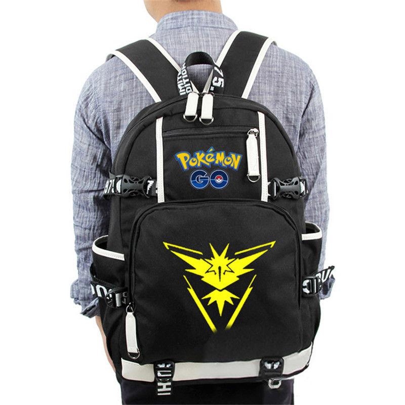 цена на New Monster Go School Backpack Laptop Books Pokeball Team Mystic Backpack Gift