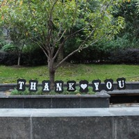 1Set Black Handmade THANK YOU Wedding Bunting Banner Photo Booth Props Party Garland Decoration Prop