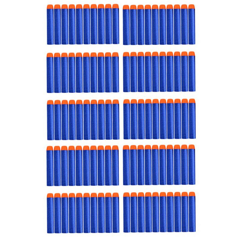 100Pcs Soft Hollow Hole Head Nerf Bullets 7.2cm Toy Gun Bullets For Nerf Series Blasters Bullet Gun Christmas Birthday Gift Kids