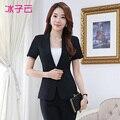 Весной новый женская одежда с короткими рукавами костюм, г-жа Тонкий одна кнопка черный костюм комбинезоны
