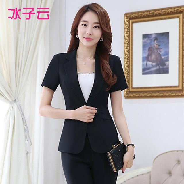 Nova primavera das mulheres desgaste curto-terno de mangas compridas, Ms. Magro um botão terno preto macacão