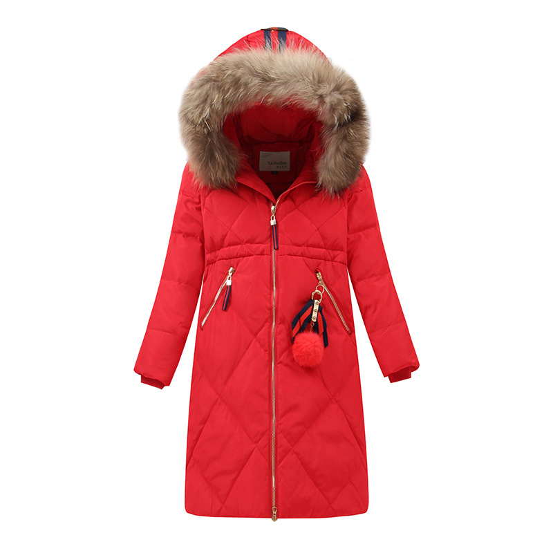 High Quality Girls Winter Coat Children's Duck Down Jacket for Girl Clothes Warm Outerwear Coats Fur Long Model Jackets Parka new winter baby girls clothes white duck down parka warm goose down jackets for kid warm long coats big fur hooded for children