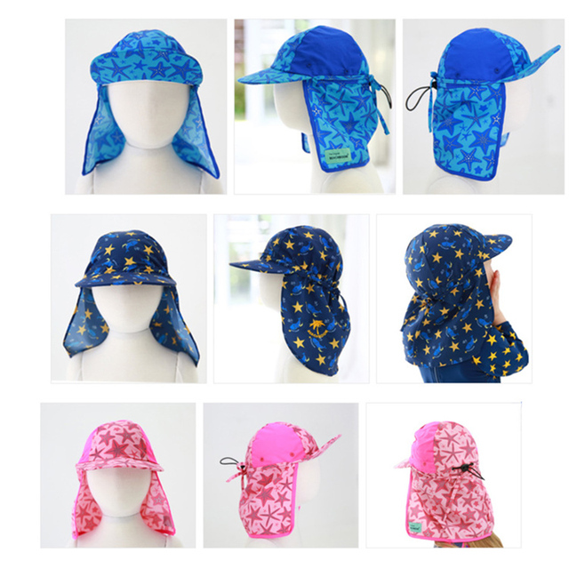 summer beach sun hat for baby boys girls swimming hats caps sun protection  neck ear cover e369c151bc7a