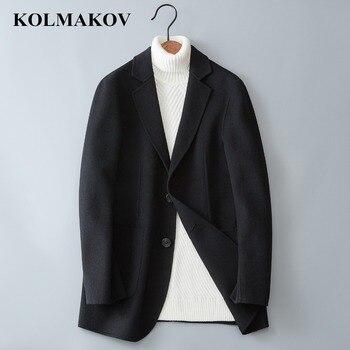 KOLMAKOV Men's Clothing 2018 80% Wool Double Faced Woolen Coats Mans Winter Warm Black/Grey High Quality Wool Jackets M-3XL Men