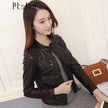 Ptslan Factory Direct lamb Leather Jacket For Women Real Natural Sheepskin Short Rock Motorcycle Biker Female Jackets
