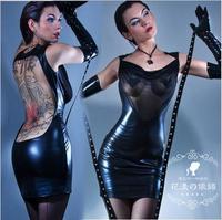 Hot Sale Women Sexy Backless Bodycon Club Dress Gothic Fetish Black PVC Faux Leather Dress Mesh