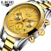LIGE Top de Luxo Da Marca Dos Homens Casual Esporte Relógio De Pulso À Prova D' Água Relógio De Ouro Dos Homens Da Forma do Aço Cheio Relógios de Quartzo Relogio masculino