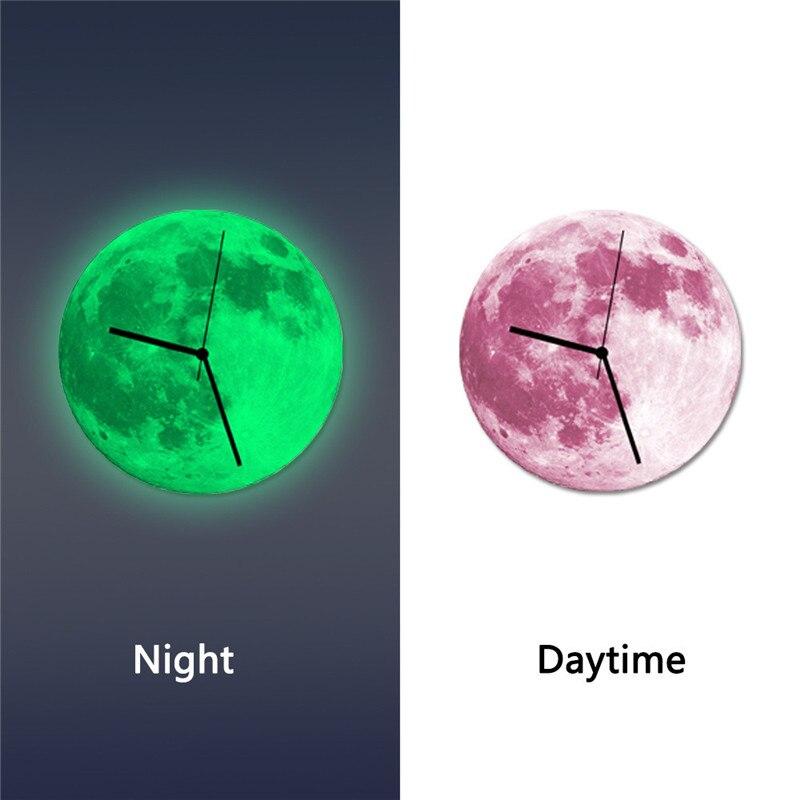 2017 3D световой большой луна люминесцентные настенные часы съемный Светящиеся в темноте часы кварцевые 30 см большие размеры Drop корабль