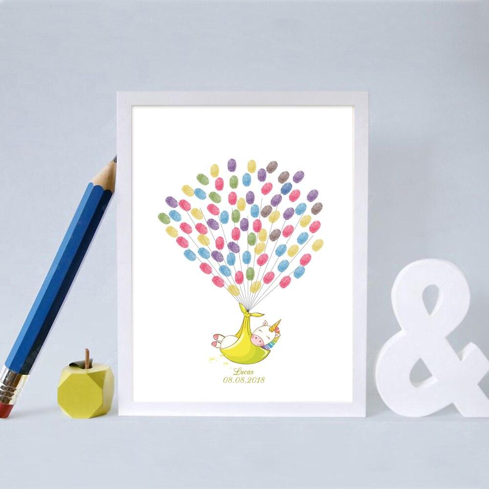 Heerlijk Eenhoorn In Inbakeren, Gratis Custom Naam Datum Vingerafdruk Handtekening Gastenboek Voor Baby Douche Doop 1st Communie, Met Inkt Pad