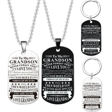 Steel Stainless Military Dog Tags Necklace To My Grandson Never Forget That I Love you Birthday Graduation Gift
