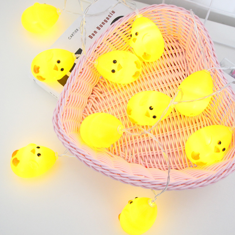 String Light 1.5M 10 LED Warm White Yellow Chicks Cute Chicken Lamp Balcony Bedroom Garland Christmas Easter Decor IY310160