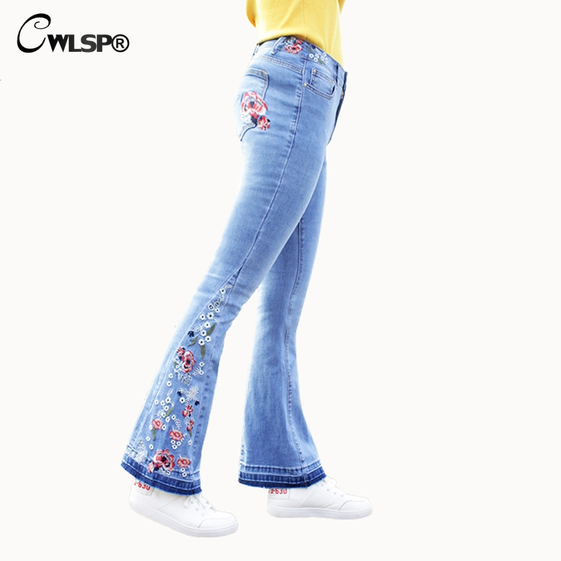 CWLSP Plus size Jeans Woman Flare Pants Embroidery Floral jeans for women 2018 Mid Waist Casual Vintage Denim Pants femme QL3539 vintage women jeans calca feminina 2017 fashion new denim jeans tie dye washed loose zipper fly women jeans wide leg pants woman