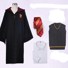 [4 pieces set] Harry Potter Gryffindor Slytherin Cosplay Costume Full set Robe+Shirt+Sweater+Tie in stock free shipping NEW