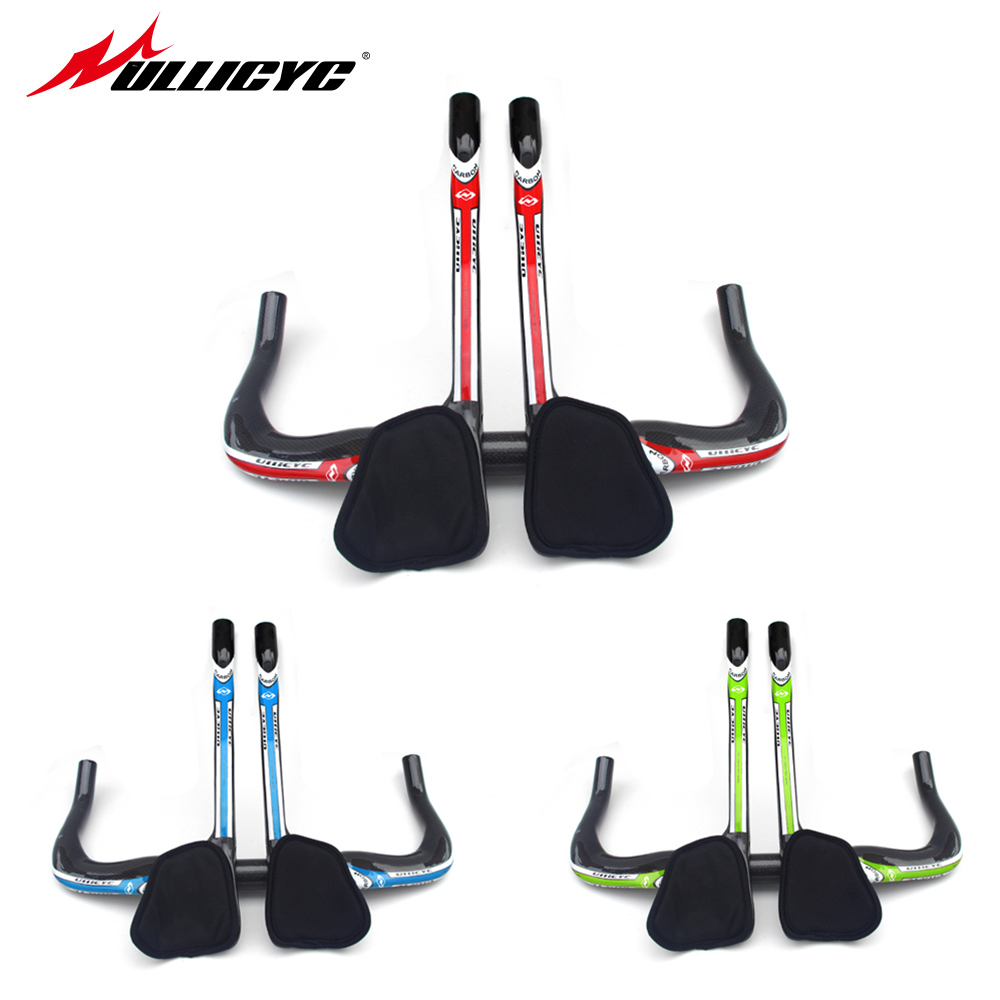 цена на New Ullicyc arrival Road bicycle carbon rest handlebar TT style triathlon Fixed Gear trial carbon bike handlebar 31.8*400-440mm