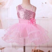 Flower Girls Sequins Dresses Kids Children One Shoulder Design Flower Ballet Dance Gymnastics Leotard Tutu Performance Dresses