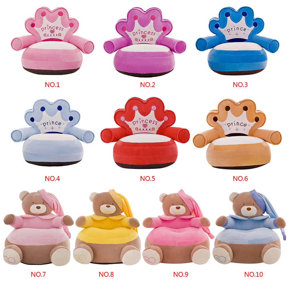 Styles Of Chairs 10 Styles 2019 New Plush Kid Chairs No Filling Baby Chair Toddler Nest Puff Seat Cartoon Crown Bear Children Seat Sofa Cover