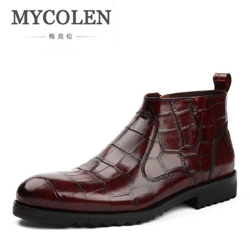 MYCOLEN Brand 2017 Autumn Winter Retro Stone Pattern Men Boots Comfortable Brand Casual Shoes Genuine Leather Snow Black Boots [krusdan]british style men autumn winter boots solid casual genuine leather retro boots falts brand red wine male ankle boot