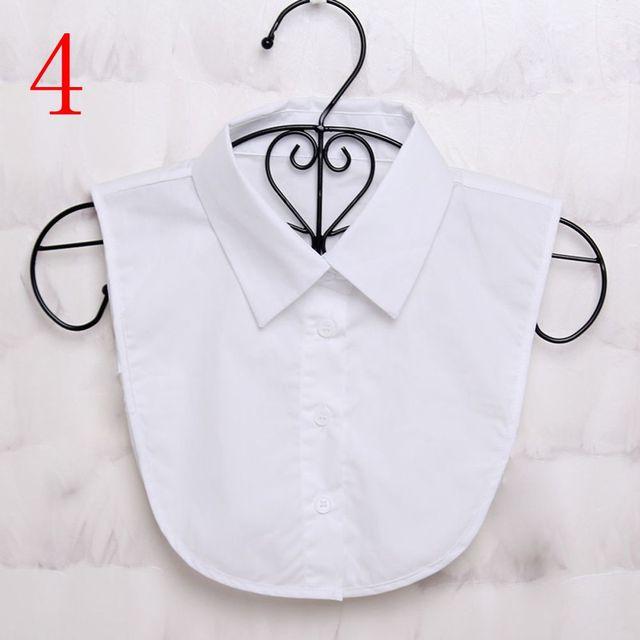 1Pcs Women Solid Color Shirt Cotton Lace Collars White & Black Blouse Spring Summer Vintage Detachable Clothes Shirt