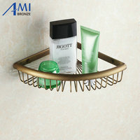 Wall Mounted Antique Brass Finish Bathroom Accessories Bathroom Shelves Triangle Basket