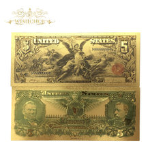 10 шт./лот, новые товары, 1896 год, американские Золотые банкноты, 5 долларов США, 24k золотые купюры, фальшивая бумага для сбора денег