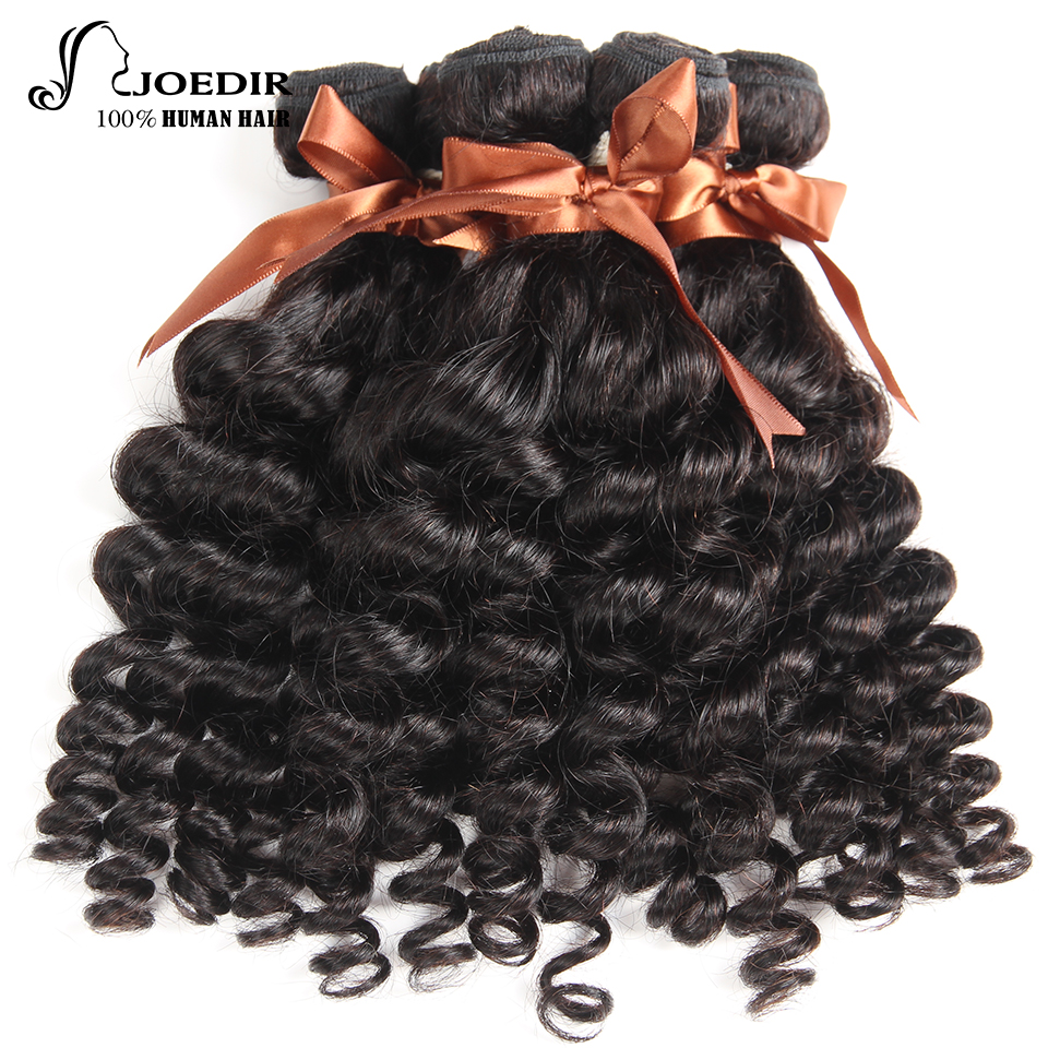 Joedir Brazilian Non-Remy Hair Fumi Curly 3 Bundles 100% Human Hair Natural Color 10 To 26 Inches Hair Extension Free Shipping